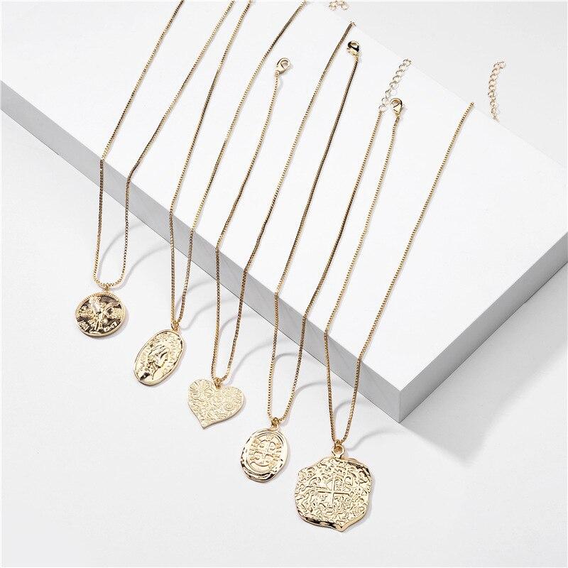 Vintage złoty kolor monety serce wisiorek naszyjnik dla kobiet geometryczny portret oświadczenie długi naszyjnik z łańcuszkiem biżuteria Bohimia