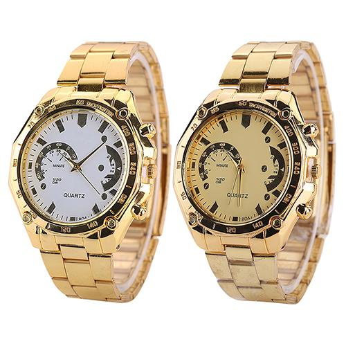 Couple Watch Luxury Wristwatch Golden Color Stainless Steel Band Analog Quartz Sport Watch For Male Female Lovers Gift