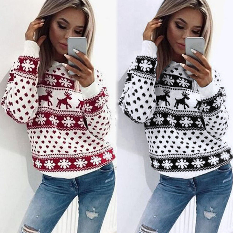 New Year Women Lady Jumper Sweater Pullover Tops Coat Christmas Xmas Winter Womens Ladies Warm Brief Sweaters Clothing