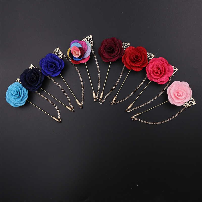 Baru 3D Rose Bunga Cocok Bros Kerah Panjang Jarum dengan Rantai Emas Daun Rumbai Kerah Pin Pesta Wedding bros Perhiasan