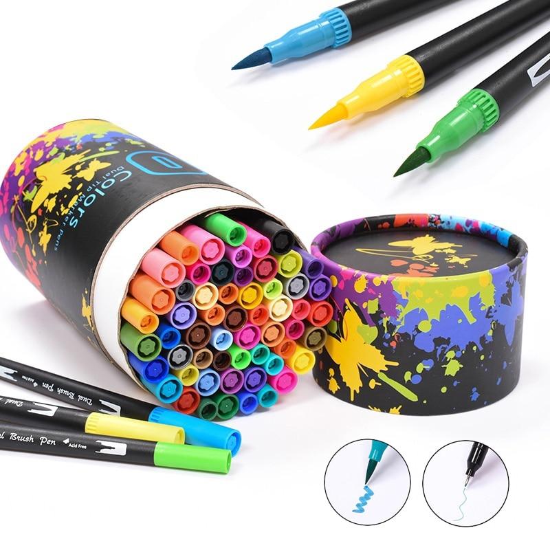 60 цветов, Двойные наконечники кистей, тонкие вкладыши, маркеры, акварельные ручки, цветные кисти, ручки для рисования набросков, маркеры для ...