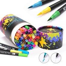 Canetas marcadoras de ponta dupla 60 cores, canetas marcadoras, desenho de aquarela, para arte, presente redondo pacote com embalagem