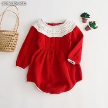 Вязаная одежда для малышей Рождественский новогодний комбинезон для девочки Комбинезон хлопковый комбинезон для новорожденных девочек одежда для маленьких мальчиков и девочек