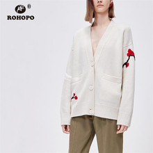 ROHOPO Autumn Grus japonensis Cartoon Knitted Vintage Jacket Button Fly Side Pockets White Outwear #9496