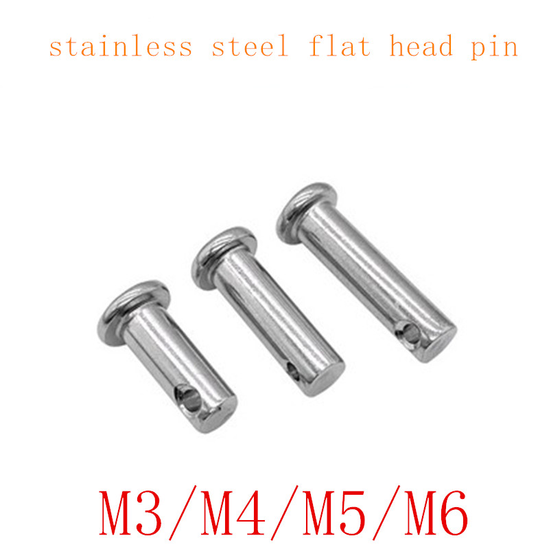 10pcs M3 M4 M5 M6*10/12/16/20/25/30/35/40/45/50 Clevis Pins Stainless Steel Shaft Flat Head With Hole Pin Cylindrical Pins
