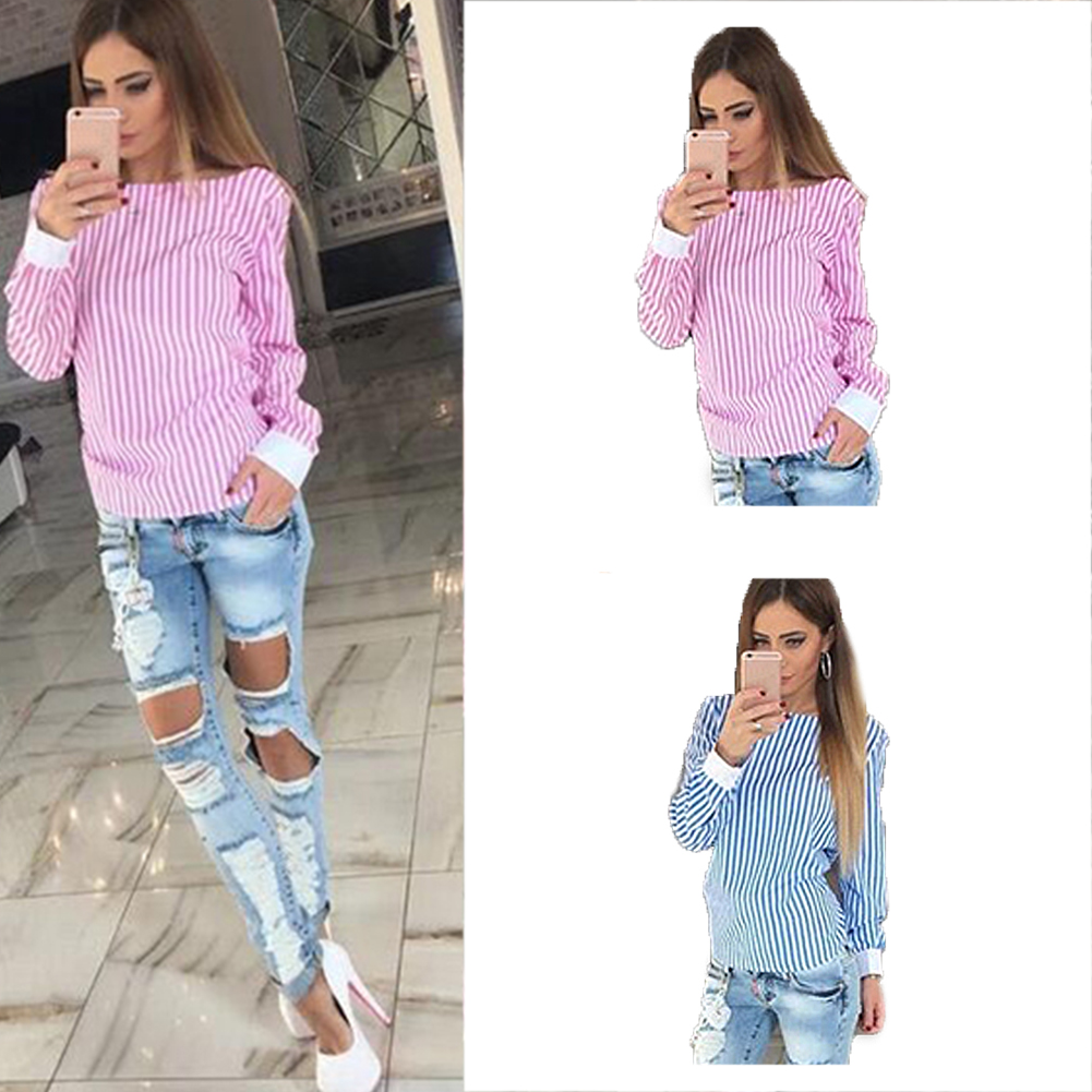 Fashion Women Sexy Bowknot Backless Striped Shirts Long Sleeve O-Neck Women Street Wear Comfortable Fashion Casual No Decoration