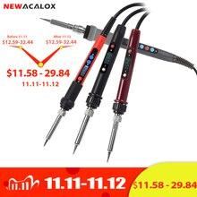 NEWACALOX 110V/220V LCD cyfrowy elektryczny lutownica 60W/80W/90W regulowany NC termostat stacja lutownicza naprawa spawalnicza