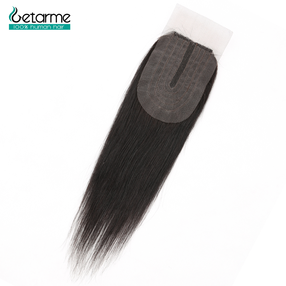 Human Hair Closure Brazilian Straight Closure 2x4 Lace Closure Non-Remy Human Hair Middle Part Closure With Baby Hair