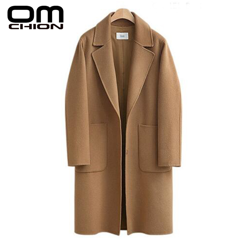 OMCHION Winter Jacket Women High Quality Loose Elegant Single Breasted Woolen Coat Casual Oversize Outwear Plus Size 5XL LMJ118