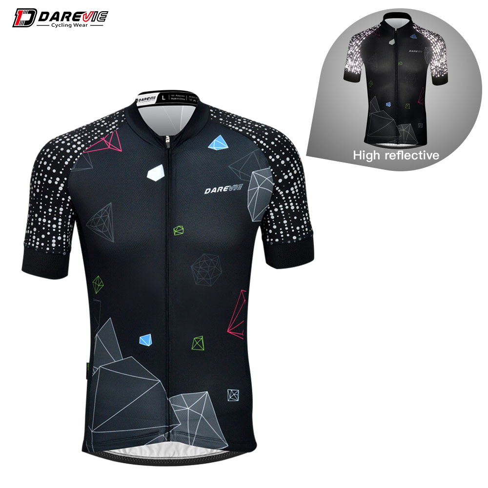 Darevie Cycling Jersey Man Cycling Short Sleeve Jersey Reflective Arm Breathable Quick Dry Summer Biking Jersey MTB Road Jerysey
