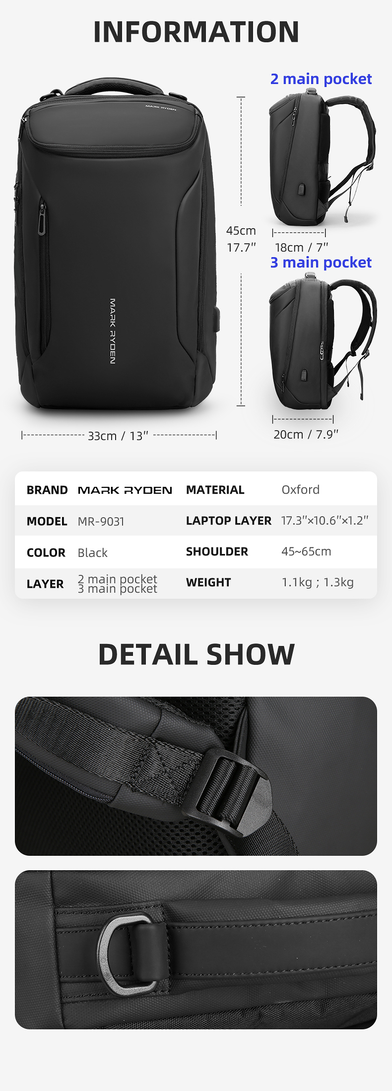 Hf2d312592e1e49bc8003fec91eec88f6F - Mark Ryden New Anti-thief Fashion Men Backpack Multifunctional Waterproof 15.6 inch Laptop Bag Man USB Charging Travel Bag
