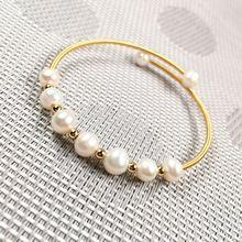 Медный женский белый жемчужный браслет простые модные вечерние