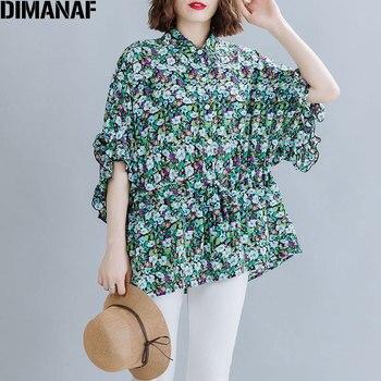 DIMANAF Plus Size Women Chiffon Blouse Floral Print Summer Shirt Female Lady Top Tunic Ruffles Loose Oversize Casual Clothes 5XL цена 2017