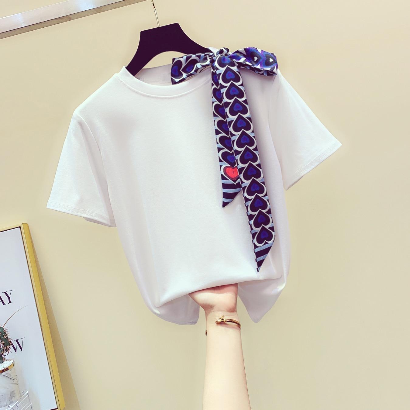 Lace-up Arco Algodão de Manga Curta T-shirt Blusas Mulheres Primavera Verão 2020 Nova Coreano Solto Cor Sólida T-shirt Tshirt Mujer