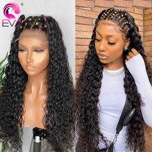 Eva encaracolado perucas de cabelo humano para preto feminino frente do laço glueless perucas de cabelo humano pré arrancado brasileiro 13x6 peruca frontal do laço remy