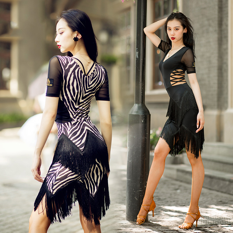 Sexy Latin Dance Dress New Zebra Stripes Rumba Dress Black Fringe Skirt Adult Rumba Dancing Costume Latin Dresses Women  BL2278