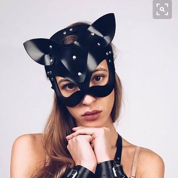 Kobiety seksowna maska pół oczy Cosplay twarz kot skórzana maska Cosplay maska Masquerade Ball karnawał fantazyjne maski * tanie i dobre opinie Unisex Dla dorosłych Kostiumy Z tworzywa sztucznego