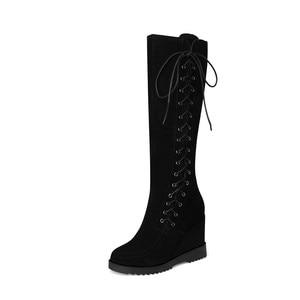 Image 4 - MORAZORA 2020 hot donne stivali alti al ginocchio inverno stivali in pelle scamosciata croce legato zip incunea i pattini della piattaforma femminile di grande formato 40