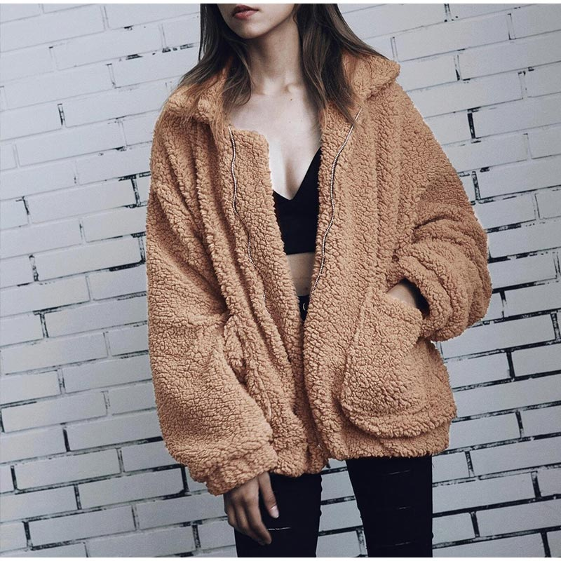 Elegant Warm Soft Zipper Fur Coat Jacket 4