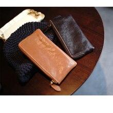 100% Genuine Leather Simple Zipper Coin Purse Women's Credit Card Holder Case Mobile Phone Storage Bag Long Wallet Purses