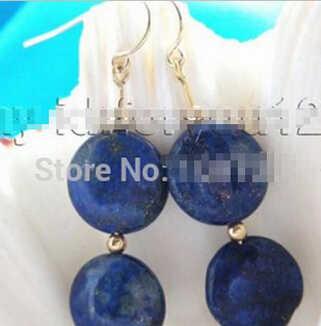 825 + + + Naturale 14 millimetri Blu Della Moneta Lapis Lazuli Naturali Orecchini Ciondola