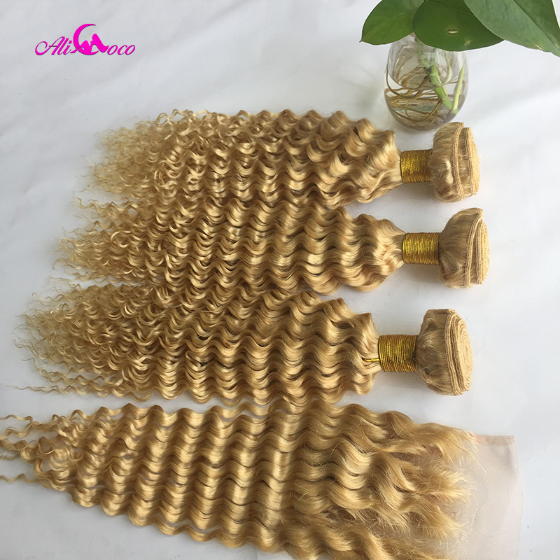 Brazilian Deep Wave Hair With Closure 613 Human Hair 3 Bundles With 13*4/4*4 Lace Frontal Closure Remy Hair Bundles With Closure image