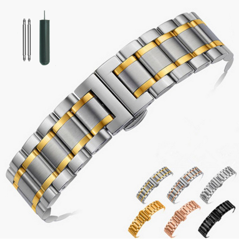 Stainless Steel Watch Band Strap Bracelet Watchband Wristband Butterfly Black Silver Rose Gold 14mm 16mm 18mm 20mm 22mm 24mm