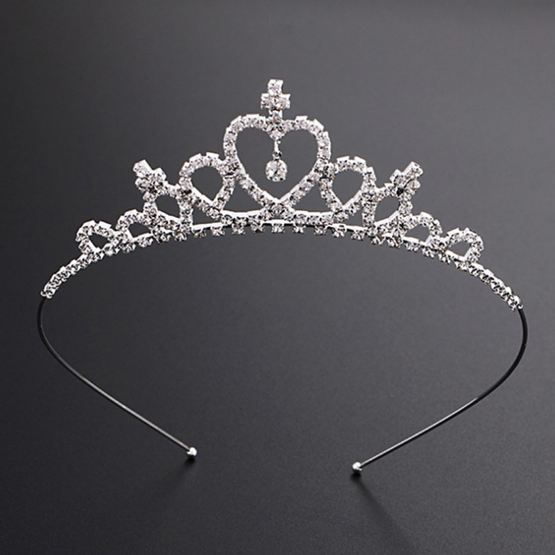 Environmentally Friendly Zinc Alloy 3A Drill Material Girls  Rhinestone Princess Crown Cute Fashion Tiara Hair Sticks Hairband