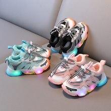 Chaussures de Sport en maille pour enfants, baskets lumineuses pour bébés garçons et filles, avec lumières Led clignotantes, printemps 2021