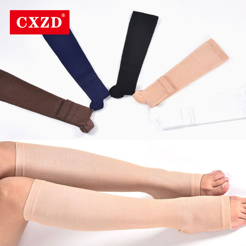 CXZD Fashion Men Women Socks Warm Solid Knee High Open Toe Unisex Compression Leg Socks