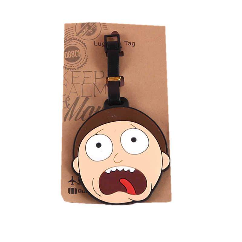 الكرتون Morty و ريك علامات للأمتعة حامل حقيبة إكسسوارات السفر ID إضافات هلام السيليكا المحمولة تسمية الأمتعة الصعود