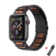 Браслет для apple watch band 44 мм 42 40 38 деревянный звеньевой