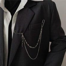 Broche en chaîne à Clip pour hommes et femmes, pendentif Punk, Double épingle, japon corée, pour hommes femmes, broche longue en métal, poitrine, accessoires à la mode