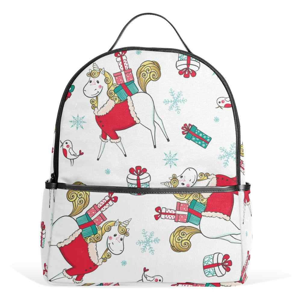 Alaza Mini Tas Sekolah Ransel Wanita Multi Saku Ransel Siswa untuk Wanita Anak-anak Tas Laptop Unicorn Hadiah Tali Yang Dapat Disesuaikan