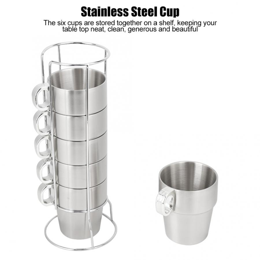Cups & Saucers Reusable Double Layer Anti-Scald Stainless Steel Stackable Water Coffee Cup Set With Cup Holder Stand Reusable