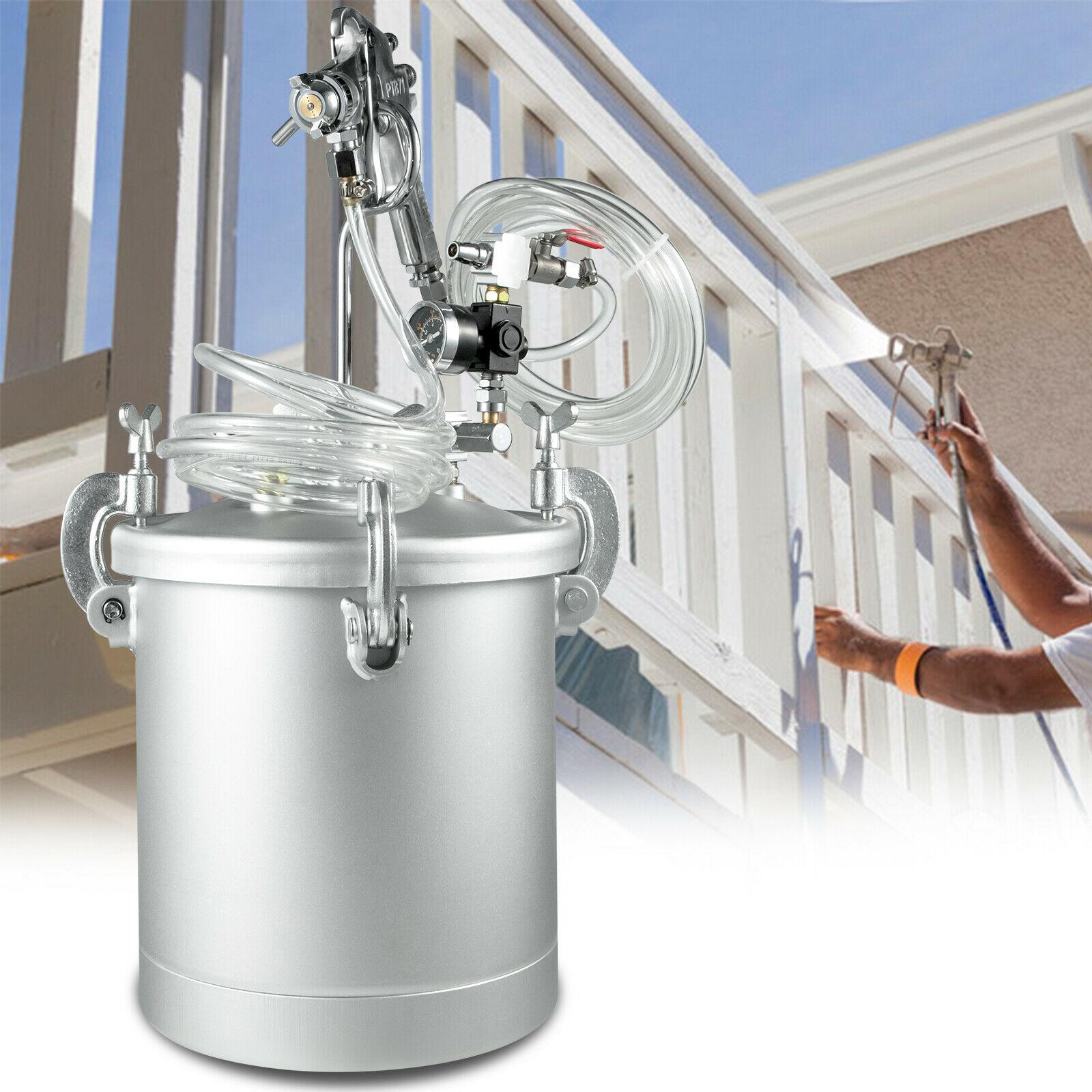 VEVOR Paint Tank 2-1/2 Gallon Pressure Pot Paint Max 30 PSI Pressure Tank Paint 10L Air and Fluid Hoses