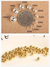 Atacado 100 pces 2/3/4mm contas redondas de metal de aço inoxidável contas espaçador de ouro contas diy grânulo solto para fazer jóias
