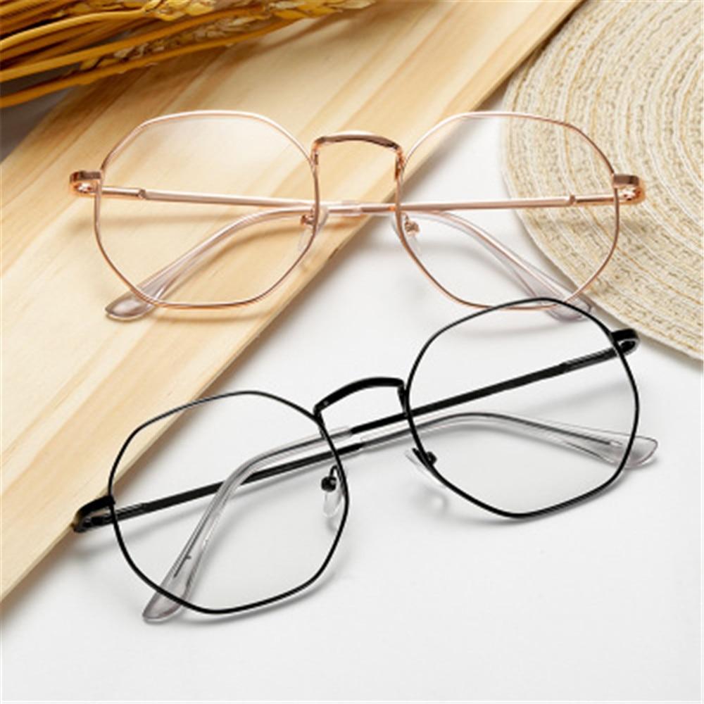 Vintage Anti Blue Light Clear Glasses Metal Reading Glasses Men Women Myopia Glasses Nearsighted Eyeglasses  -1.00~-4.0