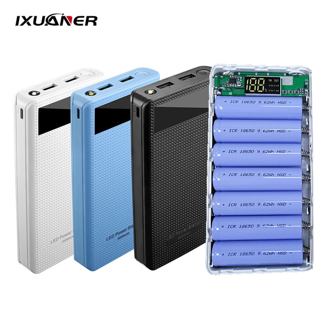 7x18650 סוללה מחזיק DIY כוח בנק קופסא פלסטיק פגז מקרה סוג C USB יציאת תצוגת Powerbank תיבת אביזרים שחור לבן כחול