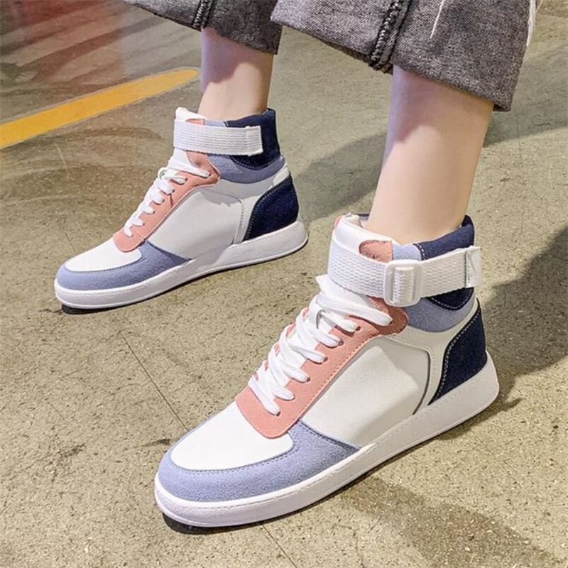 Mhysa 2019 Autumn Women Fashion Sneakers High Top Hook Loop Lace Up Platform Casual Shoes flat Heel Women's vulcanized shoes 34