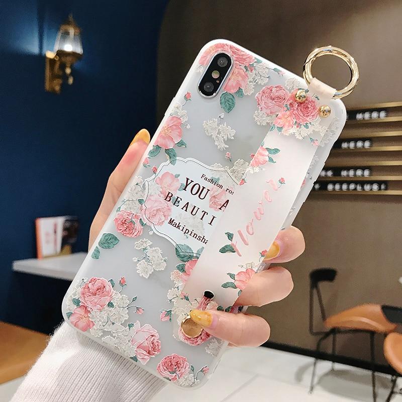 3D Printed Floral Bumper Case for iPhone XS X XR MAX Soft TPU Cover 8 plus 7 6 6s Funda