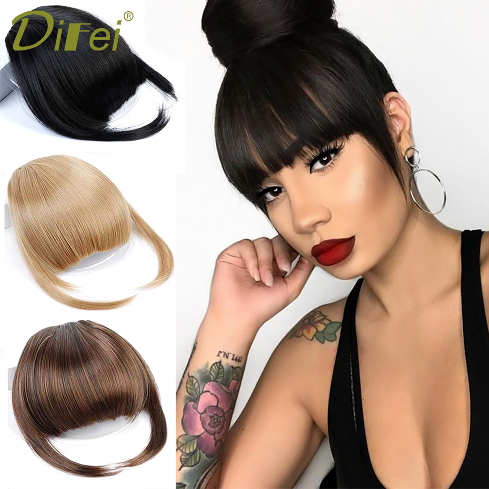 DIFEI Short Striaght Neat Bangs Clip In Synthetic Hair Extensions Front False Fringe Hair Piece Black Brown