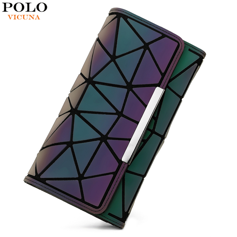 VICUNA POLO New Arrival Brand Luminous Geometric Wallet For Women Large Capacity Ladies Clutch Wallet Long Design Clutch Purse
