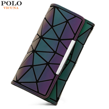 VICUNA POLO New Arrival Brand Luminous Geometric Wallet For Women Large Capacity Ladies Clutch Long Design Purse