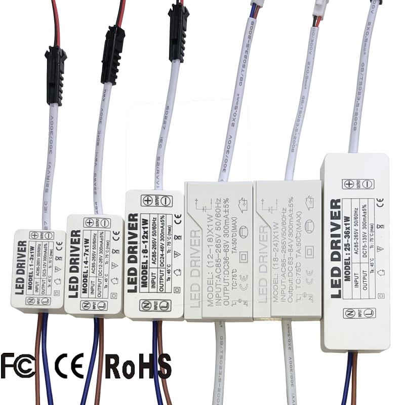Led ドライバ 300mA 1 ワット 3 ワット 5 ワット 7 ワット 12 ワット 18 ワット 20 ワット 25 ワット 36 led 電源ユニット用 AC85-265V 照明用変圧器電源ライト