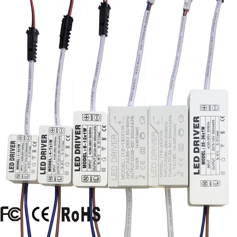 Led 드라이버 300ma 1 w 3 w 5 w 7 w 12 w 18 w 20 w 25 w 36 w led 전원 공급 장치 AC85-265V 조명 트랜스 포 머 led 전원 조명