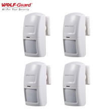 4Pcs Wolf-Guard Wireless PIR Motion Sensor Detector Useful Accessories for Home Security Alarm System 3G/GSM Host Panel 433MHz
