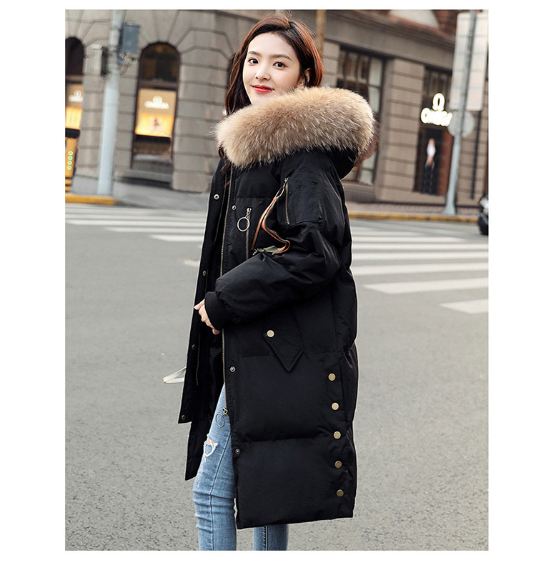 Duck Down Jacket Women Long Hooded Large Fox Fur Coat Winter Warm Thick Black Parkas Chaquetas Plumas Mujer LX2254