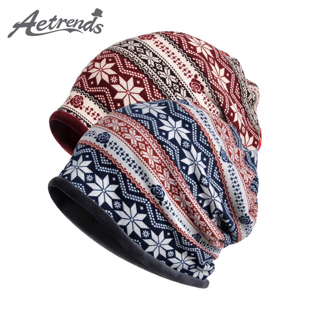 [AETRENDS] Winter Beanies Women Men Hip-Hop Slouchy Baggy Ski Beanie Hat Female Skullies Hats Z-6227