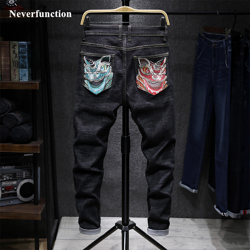 Men Japanese Hip Hop Chinese Wind Lion Head Embroidery Biker Straight Jeans Stretch Slim Man Casual Motorcycle Denim Trousers
